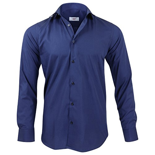 Captain Slim Fit Herren Hemden (in 24 Langarm-Hemd 100% Baumwolle (M, Navy Blau)