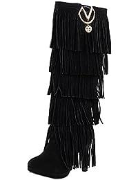 ea778d26c3b562 UH Damen Stiletto Stiefel High Heels Fransen Boots mit Fell und Metall  Fashion Herbst Winter Schuhe