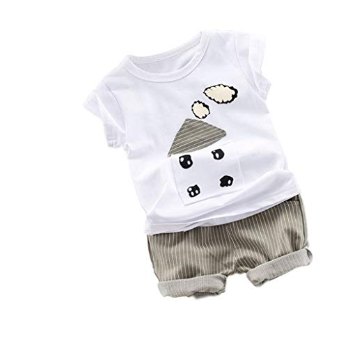 sunnymi  2PC Baby Jungen Tops Hose, 1-4 Jahre Cartoon Striped Print Shorts Outfits Sets Sommer -