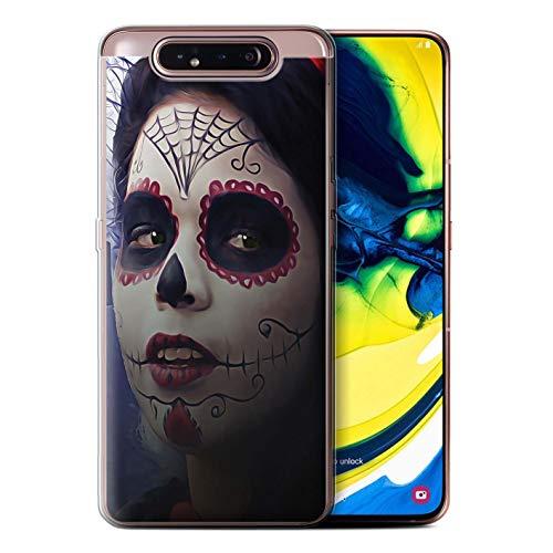 eSwish Gel TPU Hülle/Case für Samsung Galaxy A80/A90 2019 / Halloween Bilden Muster/Tag Der Toten Festival Kollektion (Tag Toten Der Halloween-2019)