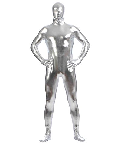 Costume carnevale halloween tuta uomo donna intera aderente per travestimento argento xxxl
