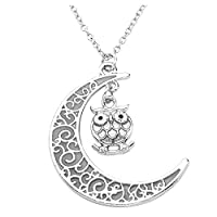 JSDDE Chic Glow In The Dark Owl With Crescent Moon Pendant Necklace Jewelry , Glowing Bule Light, Halloween Gift