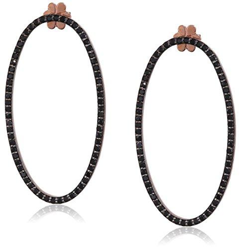 Maha lozi (Boucles d'oreilles en argent sterling avec Plaqué Or Rose 18carats 0,5mg mahalozi0010.5mg noir