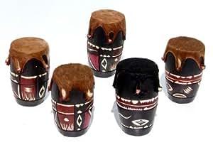 Tambour africain de bois et de cuir, décorés, des instruments de musique à percussion originaux à vendre, fabriqué à la main de Swaziland, la taille du 10 x 17 cm
