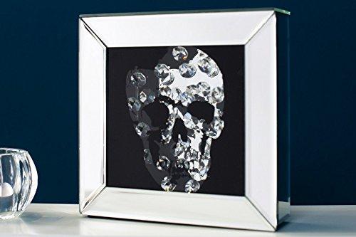 DuNord Design Glasbild SKULL 20cm x 20cm Totenkopf Bild Spiegelglas Design Standbild Deko
