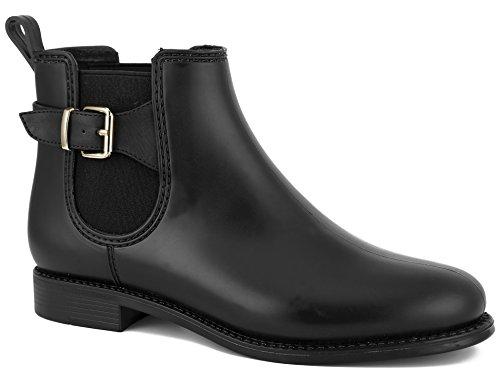 MaxMuxun Botas de Agua Diseña Moda Negra con Hebilla Adorna del Tobillo Suela Antideslizante Comodida Plana para Mujer Talla 36 EU