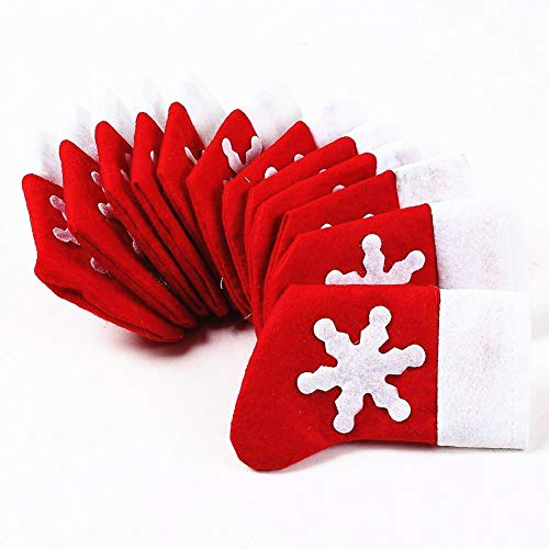 Topways® Pack 12 of Xmas Table Decoration Socks of Christmas Cutlery Holder Pockets(12 pcs Socks Pockets)