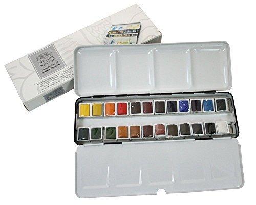 WINSOR & NEWTON LIGHTWEIGHT SKETCHERS BOX 24 HALF PANS WATERCOLOR (Sketcher-box)