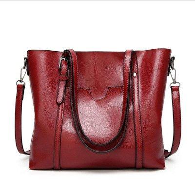 Mefly La nuova moda borsette All-Match unica borsa a tracolla semplice olio portatile di cera rossa Oxblood Claret
