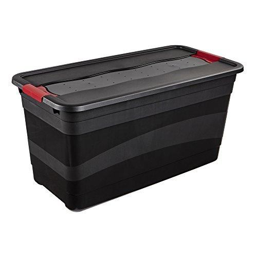 keeeper Transportbehälter mit Deckel und Schiebeverschluss, Extra Stabil, 79,5 x 39,5 x 40 cm, 83 l, Eckhart, Graphit Grau