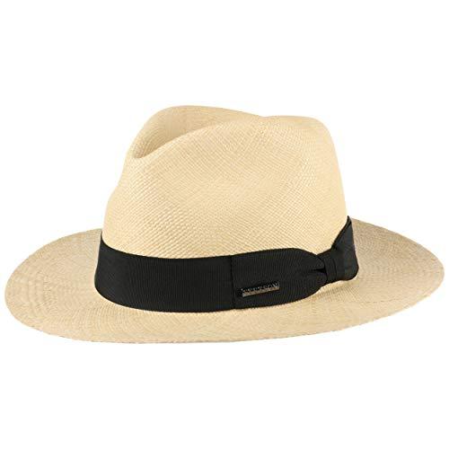 Stetson Chapeau Panama Valmora Fedora Homme - Made in Ecuador de Soleil d'été Plage avec Ruban Gros Grain, Grain Printemps-ete