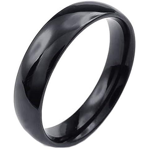 KONOV Joyería Anillo de hombre mujer, 5mm, Acero inoxidable, Color negro (con bolsa de regalo)