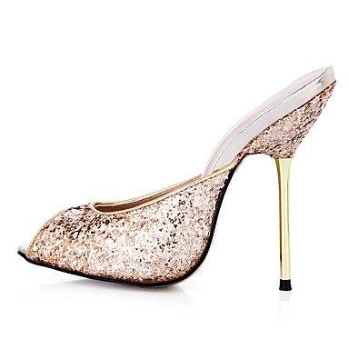 LvYuan Da donna-Sandali-Formale Casual Serata e festa-Comoda-A stiletto-Sintetico-Argento Dorato Gold