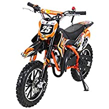 Actionbikes, mini moto da cross per bambini, Gepard 49 cm³, 2 tempi, con frizione, carburatore 15 mm, con avvio facile, forcella rinforzata, Orange