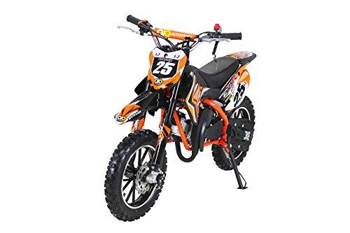 Kinder Mini Crossbike Gepard 49 cc 2-takt inklusive Tuning Kupplung 15mm Vergaser Easy Pull Start verstärkte Gabel Dirt Bike Dirtbike Pocket Cross (Orange)