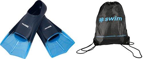 SET - AQUA-SPEED HIGH TECH Kurze Schwimmflossen für Erwachsene und Kinder + ULTRAPOWER #SWIM Beutelrucksack   Herren   Damen   Mädchen   Jungen   Trainingsflossen   Schwimmtraining   Kurzflossen   Taucherflossen   Größen 33-48, Modell:blau/hellblau/02, Größen:39/40