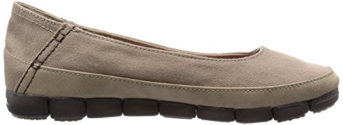 Crocs,Women's Stretch Sole Flat (15317-06Z), light grey/stucco relaxed fit, Tumbleweed/Espresso