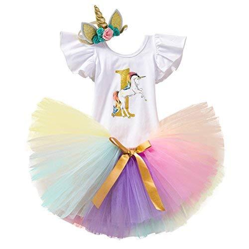t Birthday 3 Stück Einhorn Outfits mit Stirnband & Strampler & Röcke Größe 1 Jahre Rosa ()