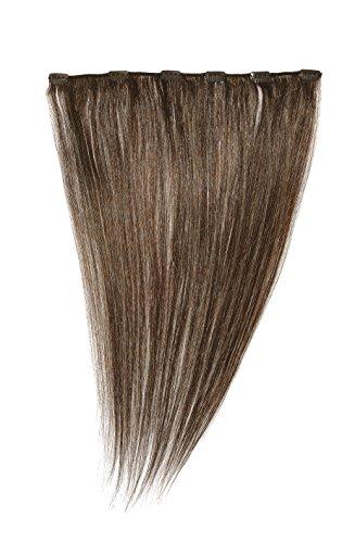 American Dream - A1/QFC12/18/6 - 100 % Cheveux Naturels - Barrette Unique Extensions à Clipper - Couleur 6 - Brun Foncé Cendré - 46 cm