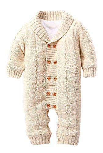 Keral Neugeborenen Warme Pullover Baumwollstreifen Zweireiher Mit Kapuze Strickjacke 12M Khaki