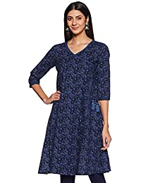 Amazon Brand - Tavasya Women's Cotton Angrakha Kurti