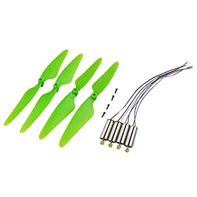 Sharplace 4 Pieces Propeller with 4 Pieces Drone CW CCW Motor Kit RC Toy Quadcopter Accessory Replacement DIY Green