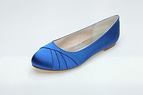 Sandalo delle scarpe con tacco delle donne piega il fondo piatto Blue