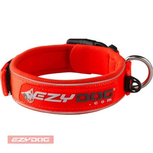 hundeinfo24.de EzyDog 5708214160163 Neopren Hundehalsband Wide, L, blaze orange