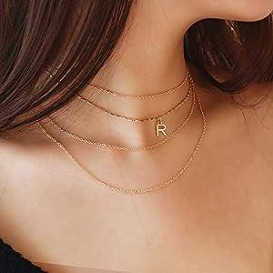 XUHAHAXL Halskette/Schmuck Mode-Trend, Multi-Metall-Kette Ornamente, Legierung Buchstaben Anhänger Halskette Halskette