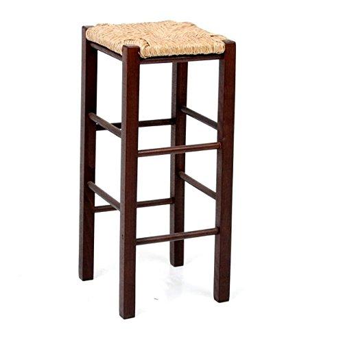 Okaffarefatto maddaloni sgabello sedia il legno noce scuro h cm 70 seduta quadrata in paglia con piedi dritti nuovo già montato