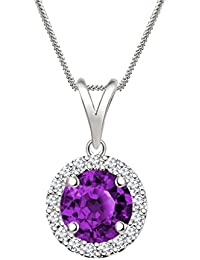 "Silvernshine 7mm Purple Amethyst & Sim Diamond Halo Pendant 18"" Chain In 14K White Gold Fn"