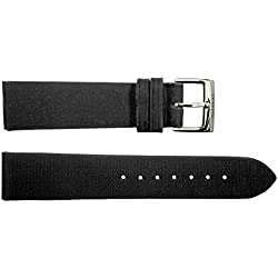 Watch Strap in Black Moire - 20 - - buckle in stainless steel - B20033