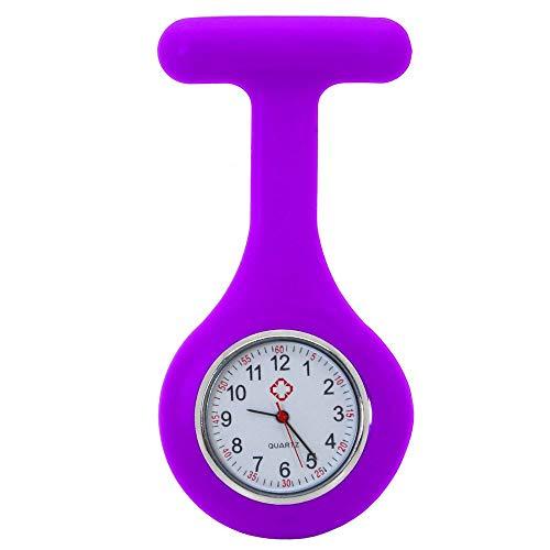 tumundo Schwestern-Uhr Puls Anstecknadel Kittel Brosche Silikon-Hülle Quarz Damen-Schmuck Krankenschwester Pfleger-Uhr, Farbe:lila
