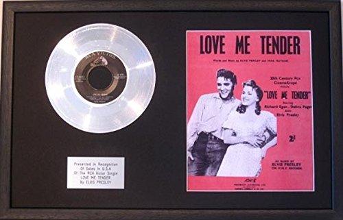 Elvis Presley - 17.78 cm Platinum Scheibe &Song Noten-Love Me Tender