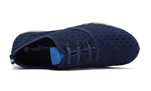 Welltree Herren Schnell Trocknend Mesh Slip-on Wasser Schuhe Navy