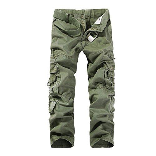ZKOO Lunghi Pantaloni Uomo Cotone Cargo Sportivi Pantaloni con Multi Tasche Pantalone da Lavoro Carico Pantaloni Calzoni All'aperto Casual