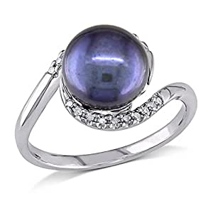 Sterling Silver 9-9.5 MM Freshwater Cultured Pearl, and Accent Diamond Ring (0.1 Cttw, G-H Color, I2-I3 Clarity)
