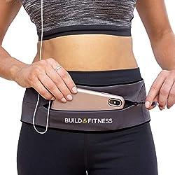 Build & Fitness Laufgürtel YKK Reißverschlusstasche, verstellbare Taille mit Schlüssel-Clip - passend für Fuel Gel, iPhone 8plus,XS Max,11 pro, Samsung's