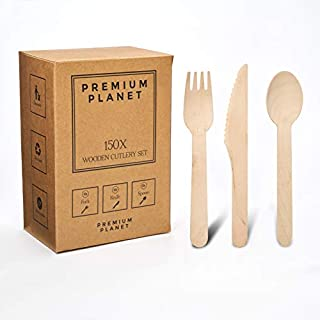 Premium Planet Wooden Cutlery Set | 150x Pieces | 50x Forks 50x Knives 50x Spoons | Large Disposable Wooden Cutlery | Party Cutlery | 100% Biodegradable