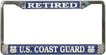 US Coast Guard Englischer Aufschrift License Plate Frame (Chrome Metal) by Tag Frames (Military) - Coast Guard License Plate