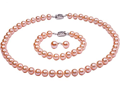 AAA 8mm Pink rund Süßwasser Pearl Halskette, Armband Ohrring-Set (Fine Antique China)
