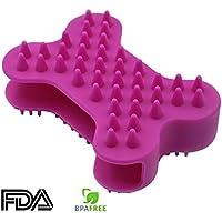 Cepillo de silicona para gatos - GreeSuit cepillo de baño del guante de la preparación del animal doméstico peine del masaje del silicón de goma de la limpieza del gato del perro
