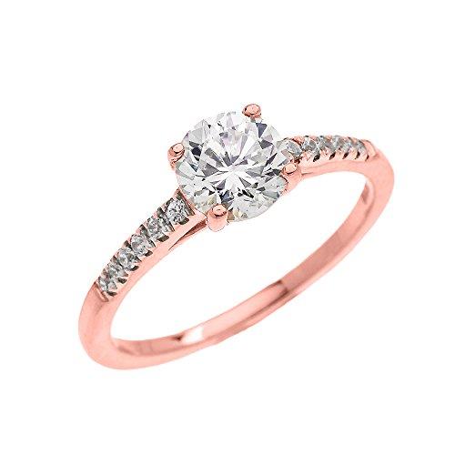 Bague Femme/ Bague De Fiançailles 10 Ct Or Rose Diamant Solitaire Avec Oxyde De Zirconium Centre Pierre Micro Pave