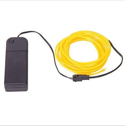 3M EL Wire EL Kabel Neon Beleuchtung für Weihnachtsfeiern Rave Partys Halloween Kostüm oder einem Einzelhandelsgeschäft Holiday Autobatterie (Gelb)