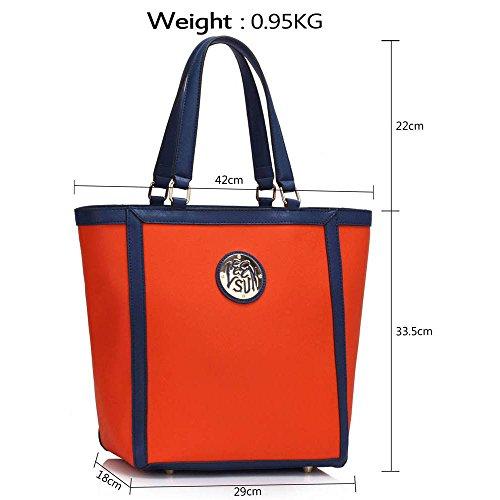 TrendStar Frauen Designer Handtaschen Damen Promi Stil Kunstleder Umhängetasche Neue Orange 2