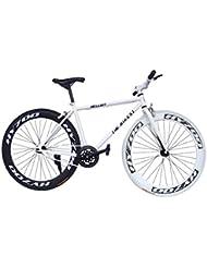 """Fixie Helliot Brooklyn H30 - Bicicleta fixie, cuadro de acero, frenos V-Brake, horquilla acero y ruedas de 26"""", color blanco y negro"""