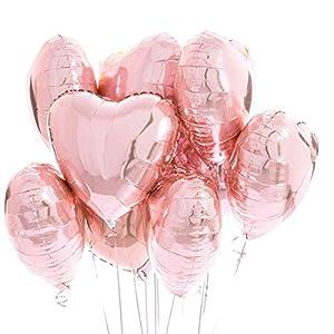 25 Globos Corazón Oro Rosa