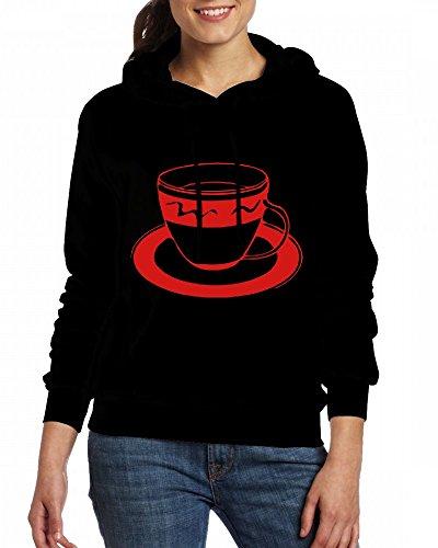Custom Womens Hooded - Design A Cup of Coffee Tea Time Hoodies Black