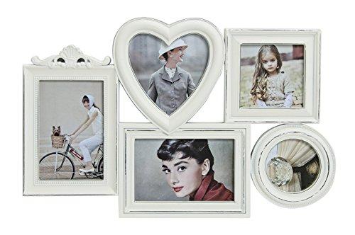 Bilderrahmen Collage für 5 Fotos   Fotocollage in Weiß   Bildergalerie mit Glasscheibe, 43x28cm   Foto-Rahmen in Barockem Design