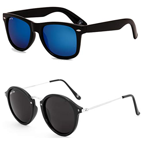 Royal Son Blue Mirrored Wayfarer and Black Round Women Sunglasses Combo